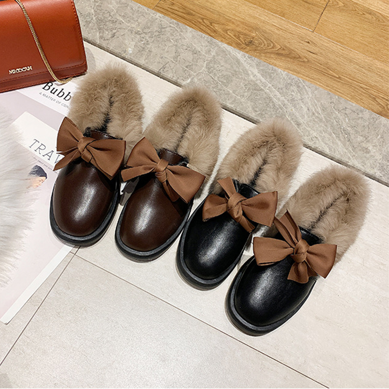 2019 winter long plush warm fur shoes bow tied decorate slip-on leather bullock shoes woman anti-skid chunky leisure espadrilles 45