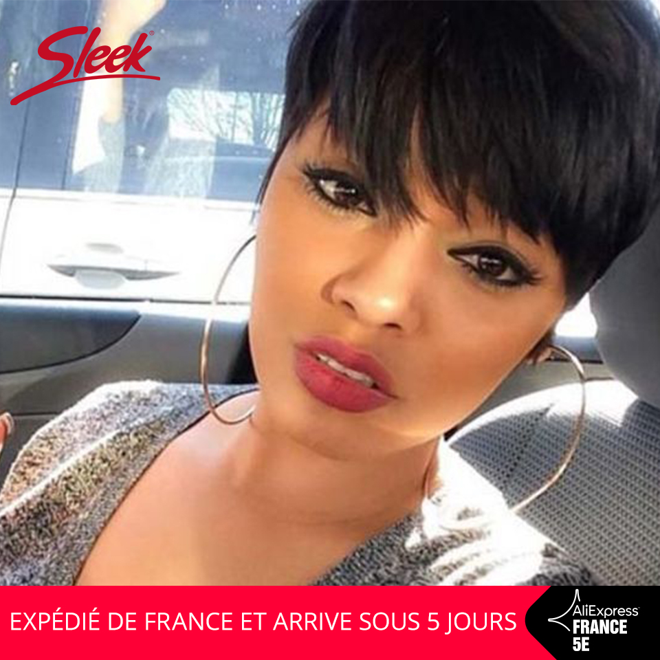 Sleek Short Human Hair Wigs Pixie Cut Wig 8 Inch 150% Density Natural Color Real Short Straight Hair Wig In France Fast Shiping