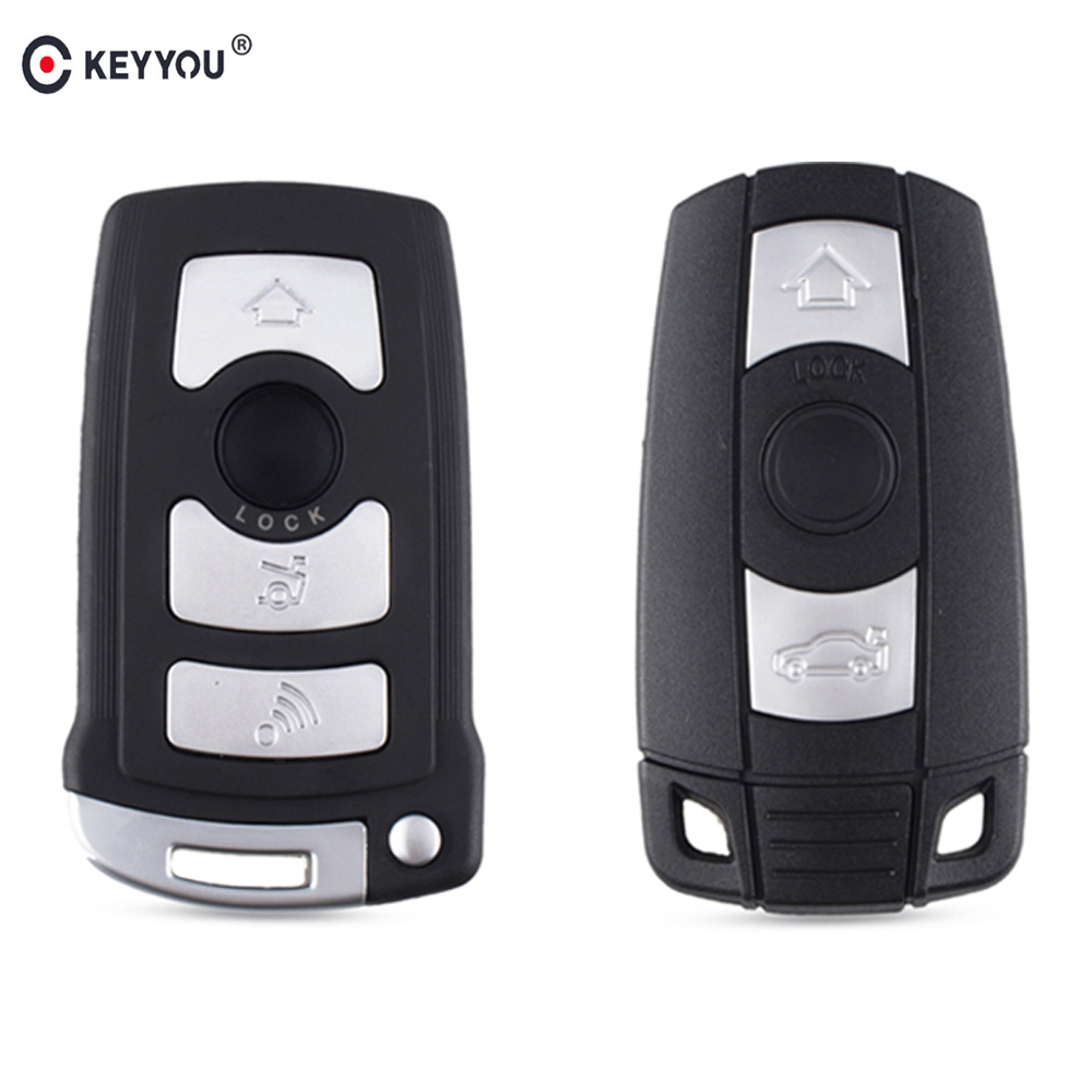 KEYYOU 3 4 Button Fob Car Key Case For <font><b>BMW</b></font> 1 3 5 7 Series E65 E66 E67 E68 <font><b>745i</b></font> 745Li 750i 750Li 760i E90 Auto Remote Key Shell image