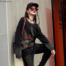 High street 2019 gradient long-sleeved top letter embroidery loose T-shirt for women  plus size Street tshirt A110Z4