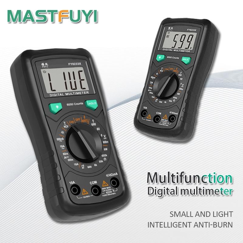 Цифровой мультиметр Mastfuyi FY8233S FY8233X, 6000 отсчетов, высокоскоростной диапазон, емкость переменного/постоянного тока, измеритель напряжения, Бе...