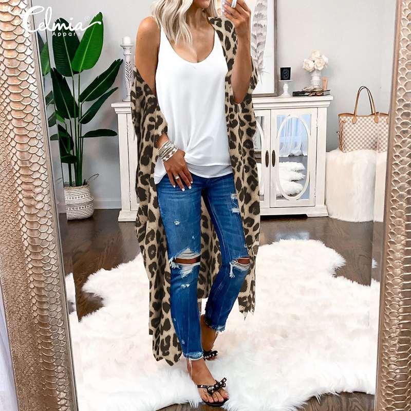 S-5XL 2019 Celmia Vintage Kimono Frauen Lange Strickjacke Casual Leopard Print Blusen Hülse Shirts Strand Cover Up Tops