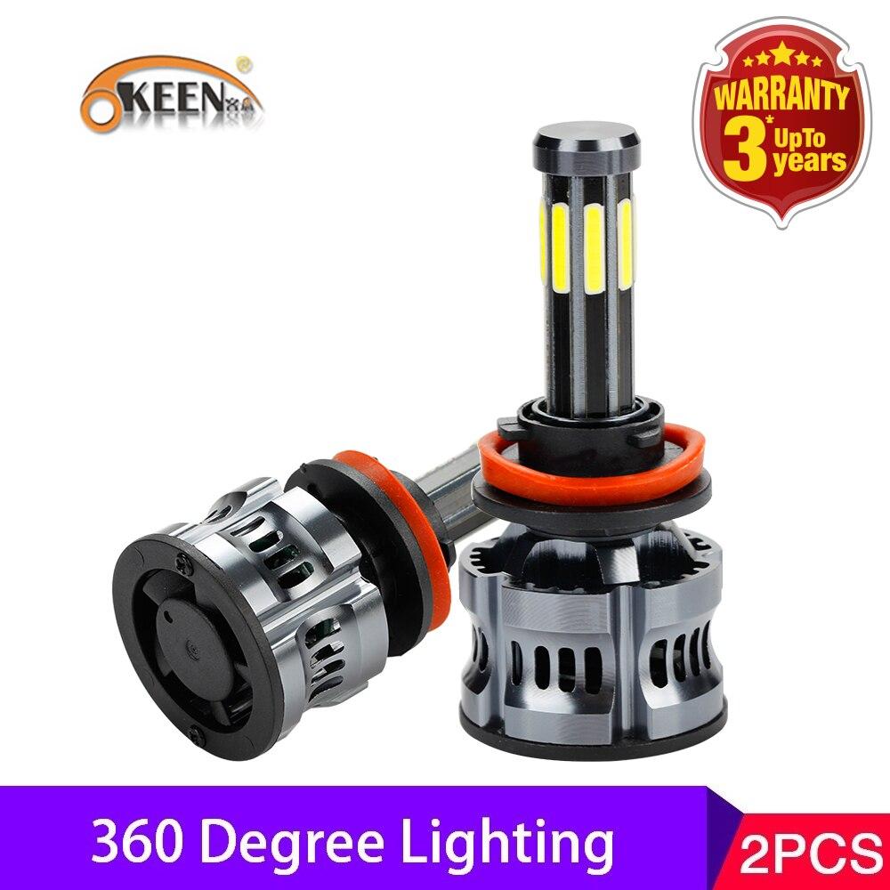 OKEEN 2pcs High Power Canbus 200W Auto Lamp H1 LED H7 H8 H9 9005 9006 H11 H13 9007 9008 Led Headlight Bulbs H4 8Sides Car Light