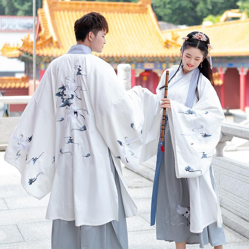 Men/Women Hanfu Ancient Traditional Chinese Sets Outfit Halloween Cosplay Costume Fancy Dress For Couples Plus Size 4XL White