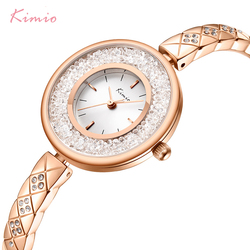 KIMIO Brand Rolling Diamond Creative Dial Women Watch Ladies Luxury Crystal Stainless Steel Bracelet Watches Rose Gold Color
