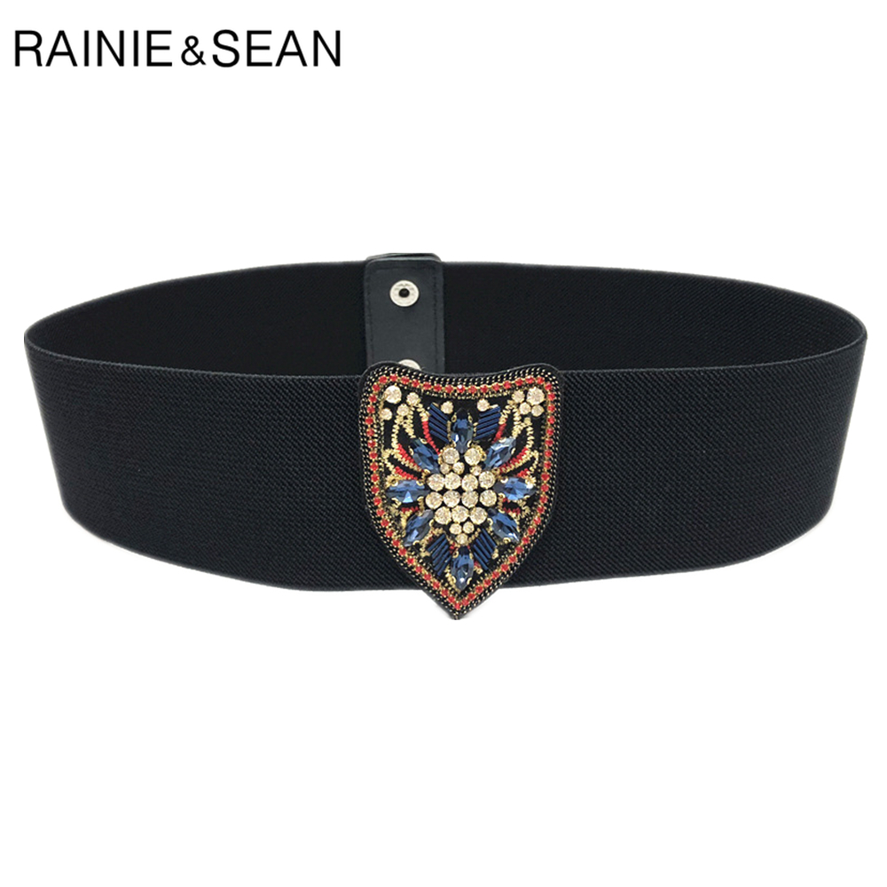 RAINIE SEAN Elastic Cummerbund Women Corset Belt Stretch Ladies Black Designer Brand Fashion Wide Rhinestone Belt