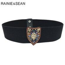 Рейни Шон эластичный пояс женщин Пояс стрейч Женские черные бренд дизайнер широкий мода горный хрусталь