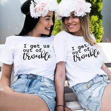 Matching Shirt Trouble Best-Friends Tops Tee Cute for Gift Get of Us-Out