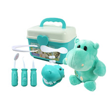 9/10/11pcs Kids Pretend hippo Plush Play Dentist Check Teeth Model Set Medical Kit Educational Role Play Simulation Learing Toys