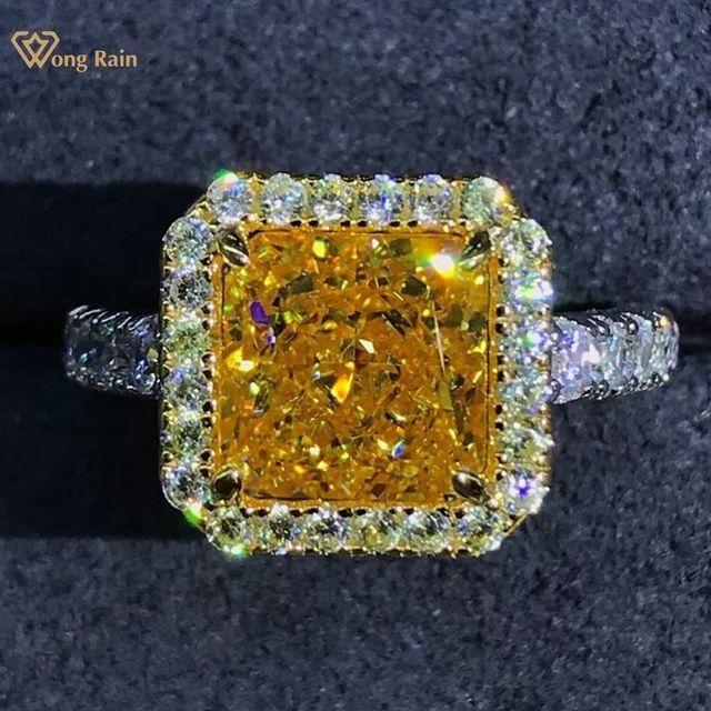 Wong Rain Luxury 925 Sterling Silver 2 CT Radiant Cut Created Moissanite Gemstone Diamonds Wedding Engagement Ring Fine Jewelry 1