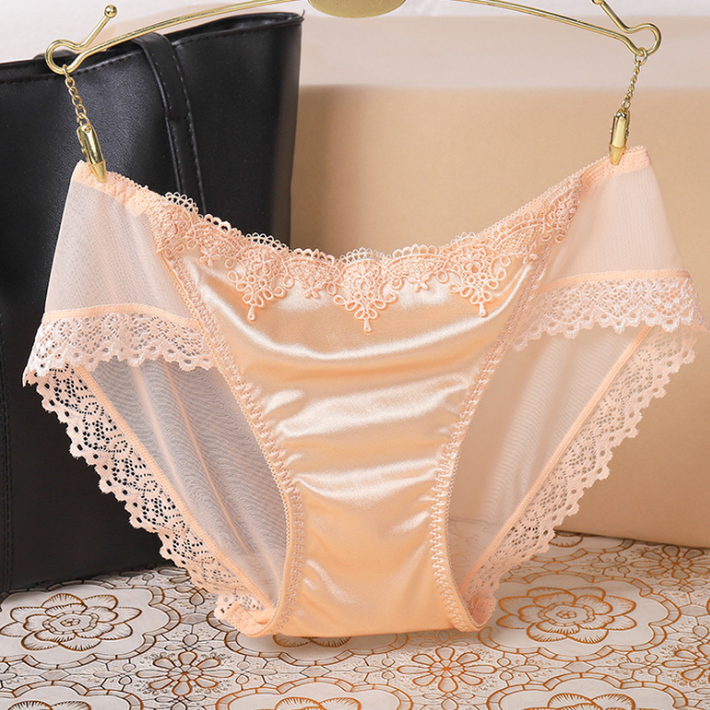 Fashion French Style Women Underpants Female Panties Comfort Intimates Lace Underwear Briefs Ice Silk Hollow Out Sexy Lingerie(China)