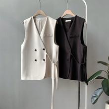 New Women Vest Korean Version of The Suit Female Short Paragraph Autumn Loose V-neck Colete Feminino Clothes