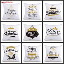 Christmas Decoration Pillow Case Soft Velvet Plush Black White Gold Letter Print Xmas Greetings Wishes Words Sofa Cushion Cover(China)