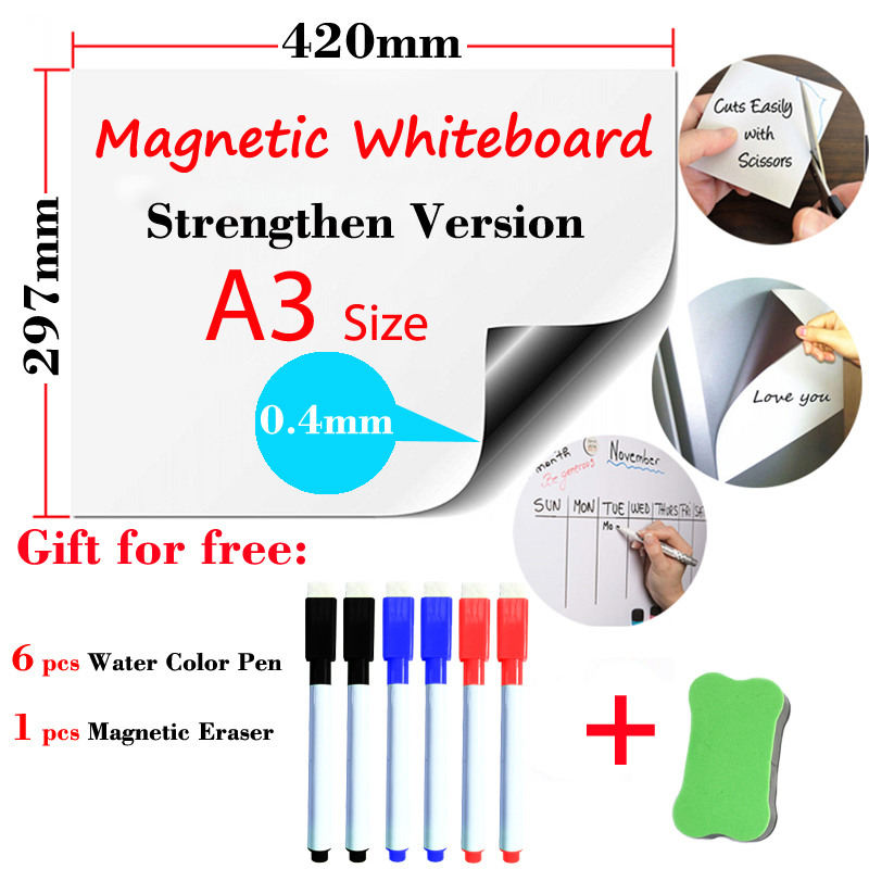 A3 Size Magnetic Whiteboard Strengthen Version For Kids Home Office Dry Erase Board White Boards Fridge Wall Stickers Message