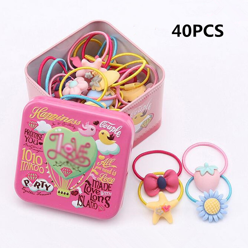 40pcs/box Hair Ties For Girls Kids Various Cartoon Elastic Hair Bands Gum Head Rope Scrunchies Children Girls Hair Acessories