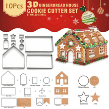 10pcs/set 3D Biscuit Mold Gingerbread House Stainless Steel Christmas Cookie Cutters Set Moulds Biscuit Fondant Cookie Tool
