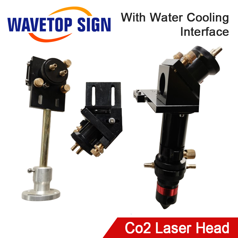 CO2 Laser Head Set With Water Cooling Interface Mirror 30x3mm Focus Lens 25x63.5mm For Water Cooling Laser Machine