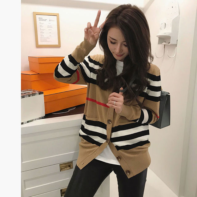 Knitted cardigan coat women's spring 2021 new loose and versatile sweater women's long sleeve sweater thin 4
