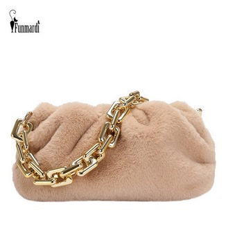 FUNMARDI Faux Fur Dumpling Handbags Pleated Plush Bag Cloud Crossbody Bag For Women Winter Bag 2021 Chain Shoulder Bags WLHB2203