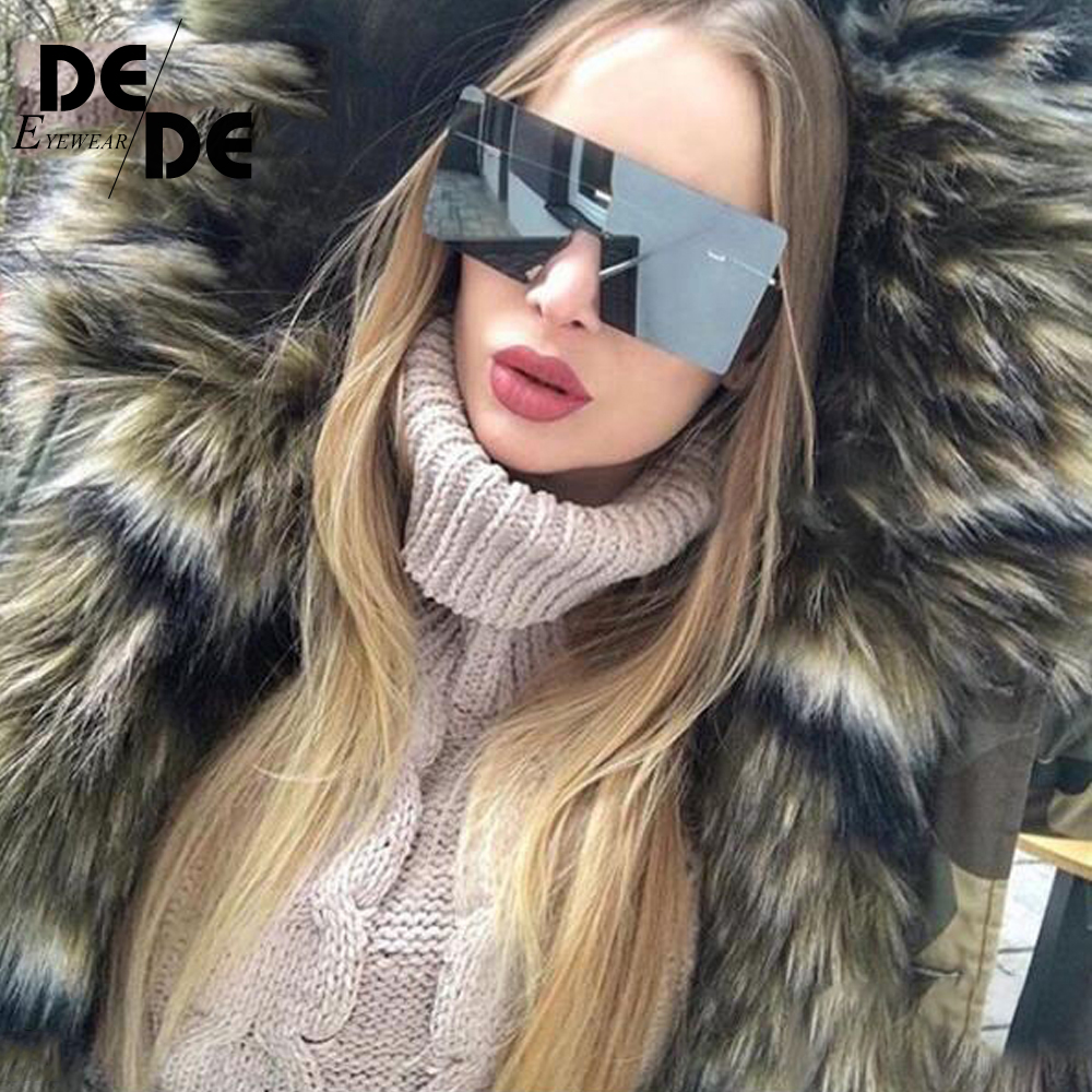 big one piece lens sunglasses women square blue pink brown metal rimless sun glasses for men male 2018 uv400 in Women 39 s Sunglasses from Apparel Accessories