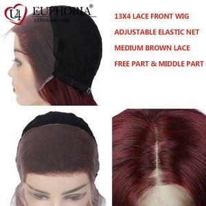 Image 5 - 13x4 perucas dianteiras do laço em linha reta loira 27 perucas de cabelo humano marrom curto bob laço frontal perucas peruano remy cabelo parte do meio eufori