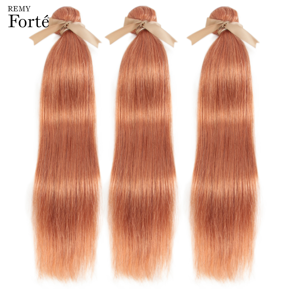 Remy Forte Straight Hair Bundles Blonde Brazilian Hair Weave Bundles Orange Human Hair Bundles  Remy Hair Weave 1/3/4 Bundles