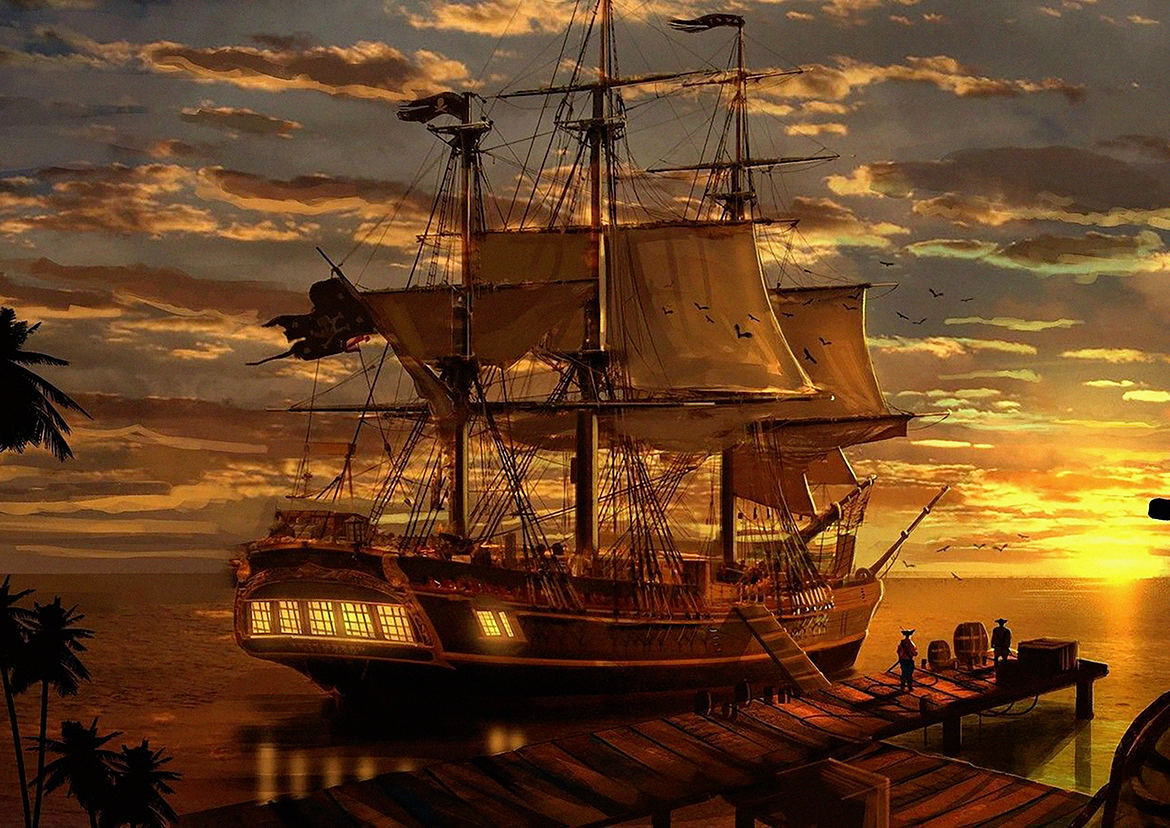 Sunset Fantasy Pirate Ship Art Film Print Silk Poster Home Wall Decor 24x36inch Painting Calligraphy Aliexpress
