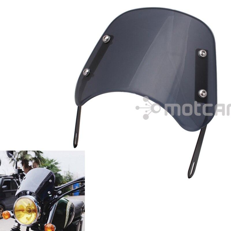 "Motocicleta 5-7 ""farol portector fumaça abs brisa vento defletor windscreen universal para honda cg125 cafe racer"