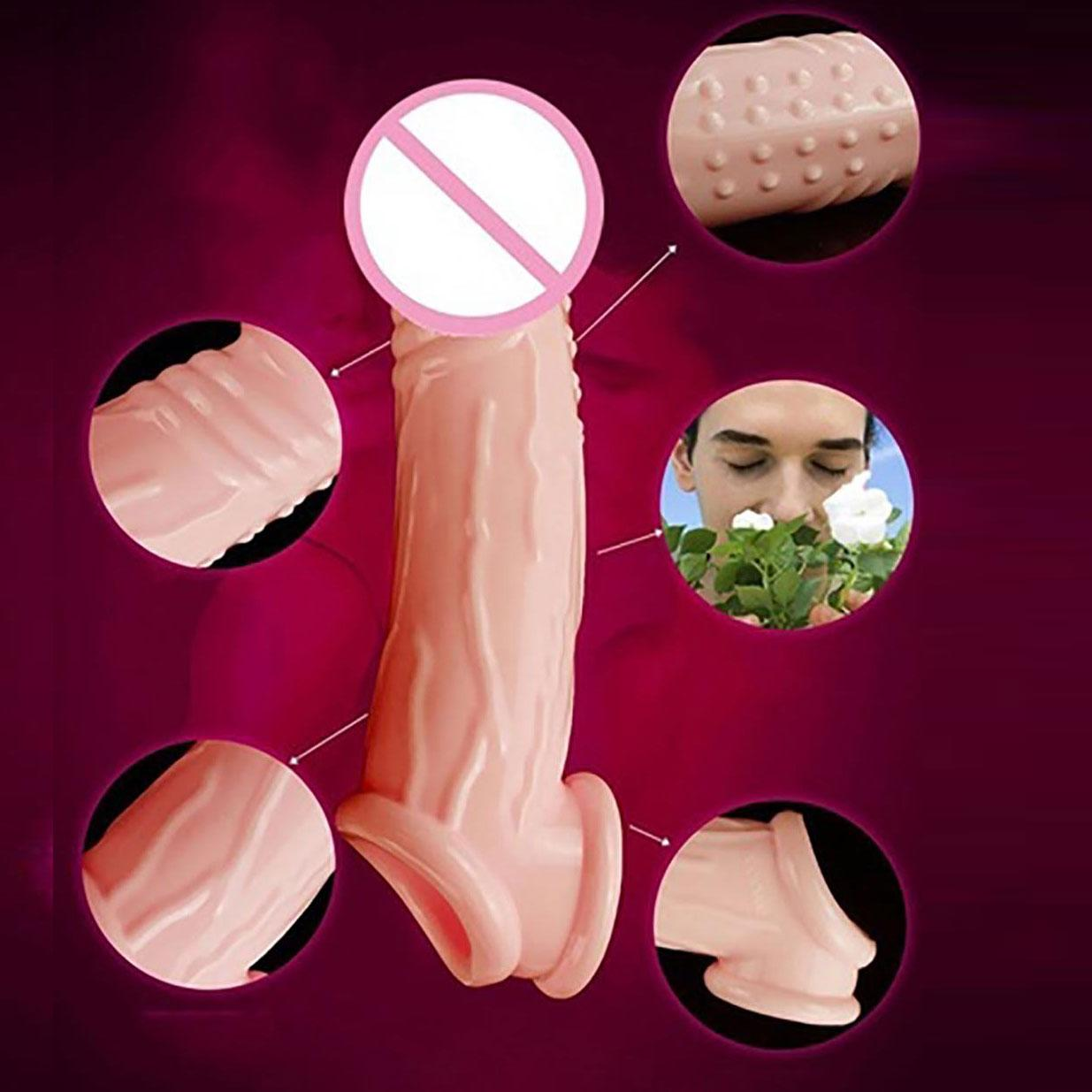 Male Penis Sleeve <font><b>Dildo</b></font> Extender Enlargement Delay <font><b>Ejaculation</b></font> <font><b>Sex</b></font> <font><b>Toy</b></font> Penis Women Artificial Anal <font><b>Dildo</b></font> Fake Penis Dick image