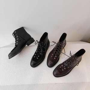 Image 4 - Krazing pot new genuine leather lace up European concise career mature neutral design rivets round toe med heels ankle boots L18