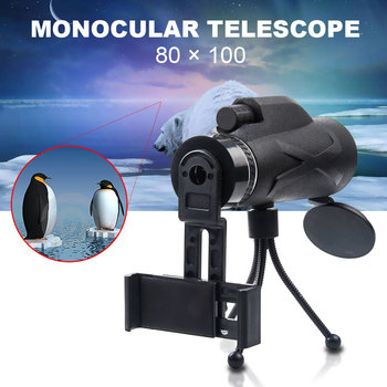 3 Styles 80X100 Monocular Zoom Portable Prism BAK4 Optical Telescope with Phone Clip with Tripod For Hunting Camping Spotting svbony sv14 spotting scope 20 60x60 25 75x70mm bak4 zoom 45 de nitrogen birdwatch monocular telescope f9310