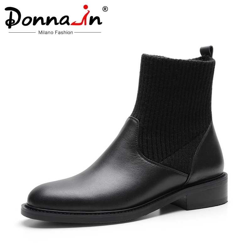 Donna-hakiki deri kadın sonbahar kış yarım çizmeler çorap sıcak düşük topuk yuvarlak ayak kauçuk günlük çizmeler kadın ayakkabısı siyah