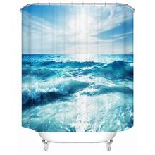Sea waves sea water polyester printing waterproof and mildew bathroom shower curtain partition factory direct sale