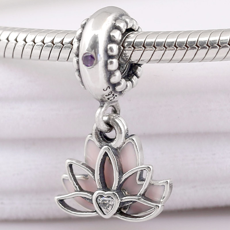 Original Pale Pink Enamel Serene Lotus Flower Pendant Beads Fit 925 Sterling Silver Bead Charm Pandora Bracelet Diy Jewelry(China)