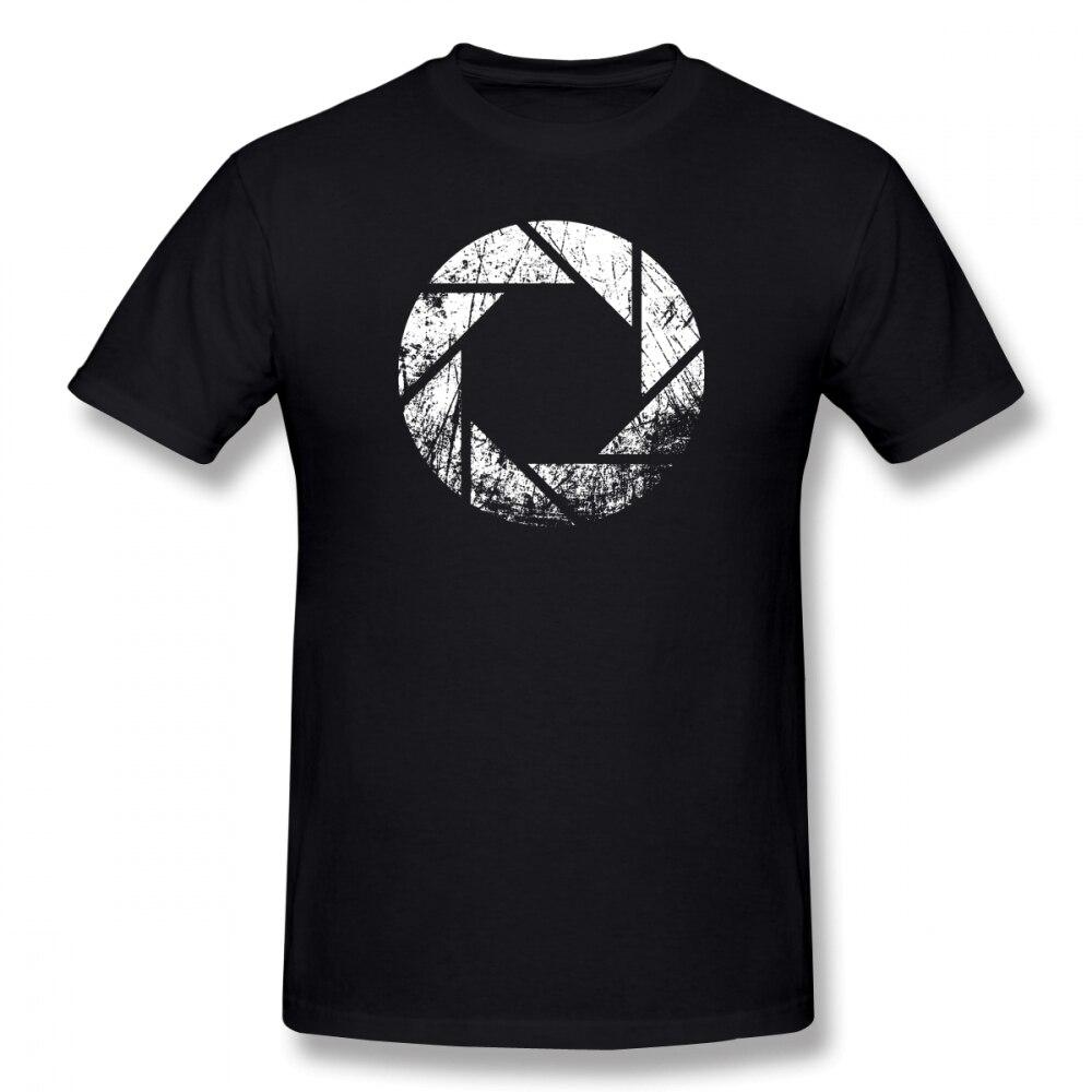 Portal T Shirt Aperture Laboratories Distressed T-Shirt 100% Cotton Male Tee Shirt Print Casual Short-Sleeve Plus Size Tshirt