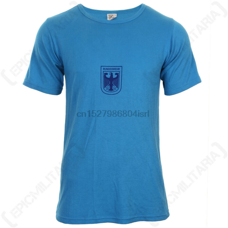 Original German Army Blue T-Shirt - Army Military Sports Surplus Bundeswehr Top(China)