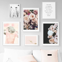 Pink Girl Peony Rose Flower Quote Wall Art Canvas Painting Nordic Posters And Prints Pictures For Living Room Bedroom Decor