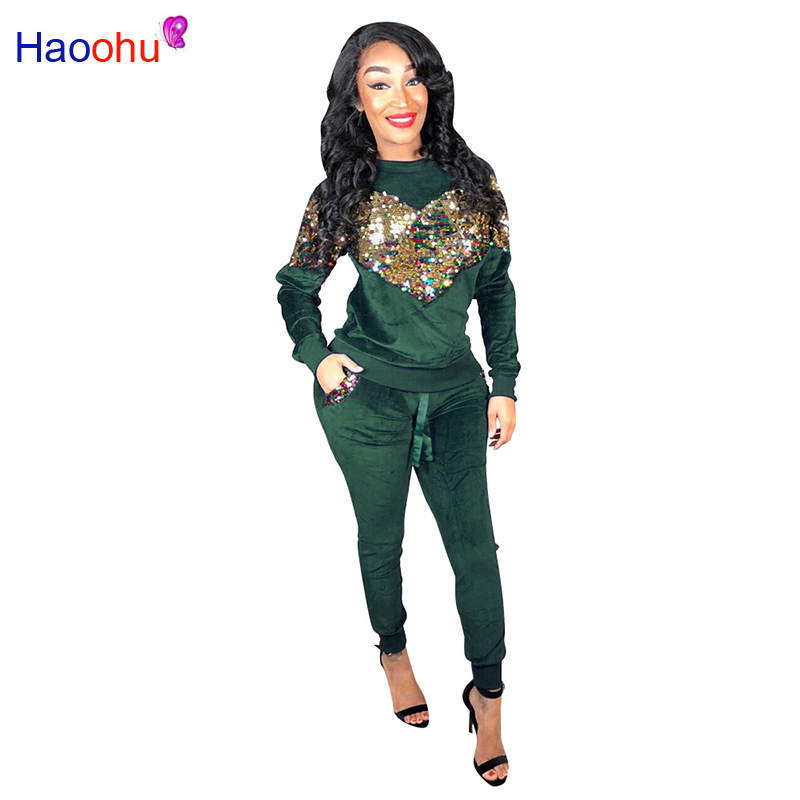 HAOOHU Thick Velvet Sequin 2 Piece Set Women Tracksuit Hoodies Tops And Pant Casual Outfits Suits Fall Winter Velour Sweatsuit