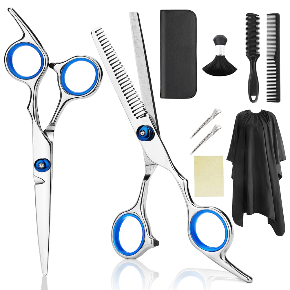 10PC Hair Scissors Cutting Shears Salon Professional Barber Hair Cutting Thinning Hairdressing Set Styling Tool Hairdressing