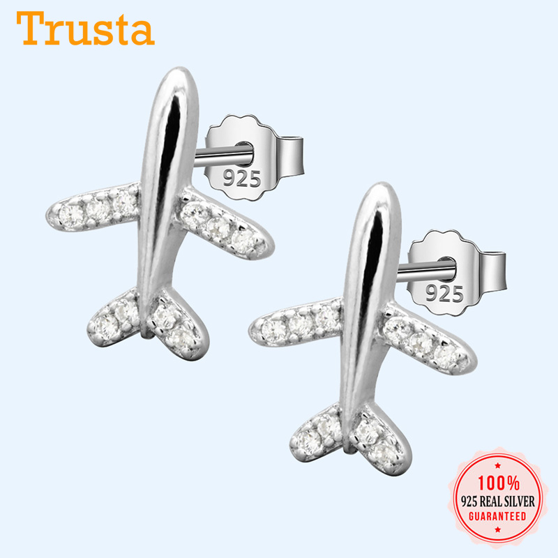 Trustdavis 100% 925 Solid Real Sterling Sweet Plane Airplane CZ Stud Earrings Gift For Women Girls Kids Lady Jewelry DA305