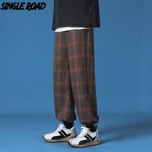 SingleRoad Mens Sweatpants Men 2021 Spring Orange Plaid Baggy Joggers Japanese Streetwear