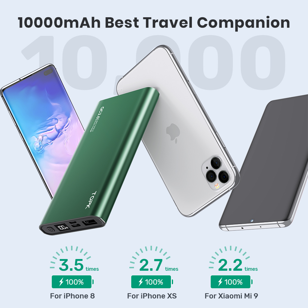 TOPK Power Bank 10000mAh Portable Charger LED External Battery PowerBank PD Two-way Fast Charging PoverBank for iPhone Xiaomi mi 5