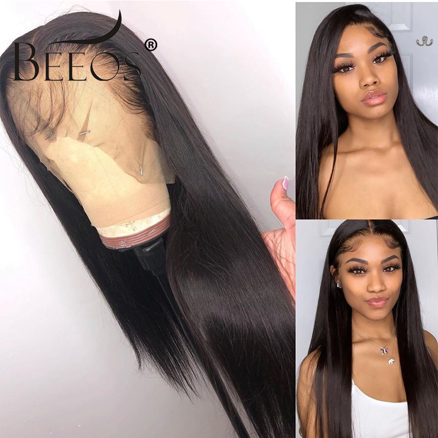 Straight 360 Lace Frontal Wig Human Hair Lace Front Wigs With Baby Hair Peruvian Remy Human Hair Pre Plucked Bleached Knot Beeos