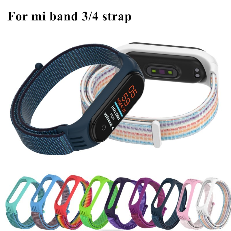 Nylon Bracelet For Xiaomi Mi Band 4 3 Strap Miband 4 Sport Wristband Breathable Watch Straps For Xiao Mi Mi Band 3 4 Bracelet
