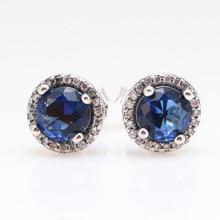 цена на Original 925 Sterling Silver Elegant Blue Diamond Earrings Pan Earrring For Women Gift Fashion Jewelry