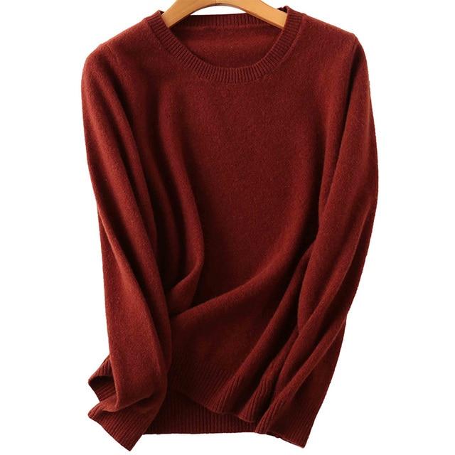 100% Merino Wool Cashmere Sweater Women 2020 Autumn Winter Warm Soft O-Neck Long Sleeve Knitted Pullover Jumper Femme Sweater 5