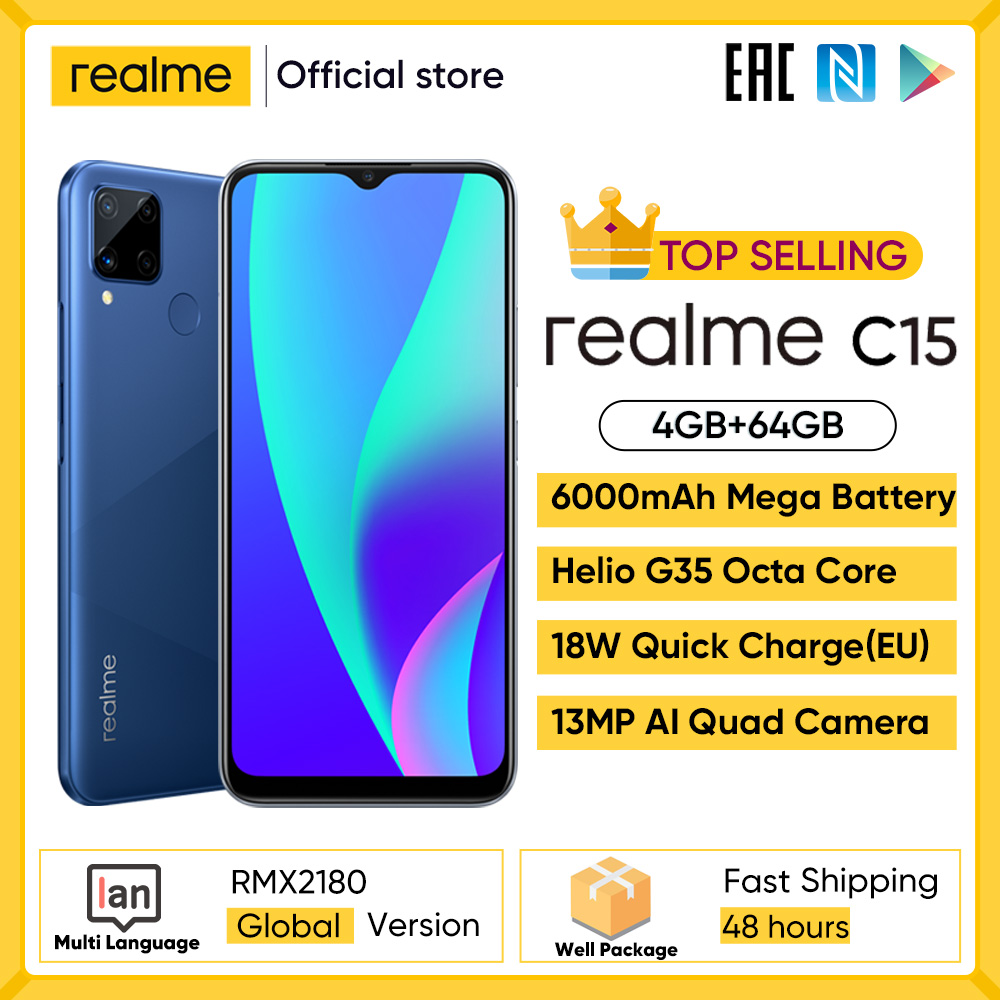 "Realme C3, 3GB RAM + 32GB ROM, Helio G70 MTK, 6,5 "", 5000mAh, teléfono móvil con cámara de 12MP, pantalla Mini gota completa|Teléfonos móviles| - AliExpress"