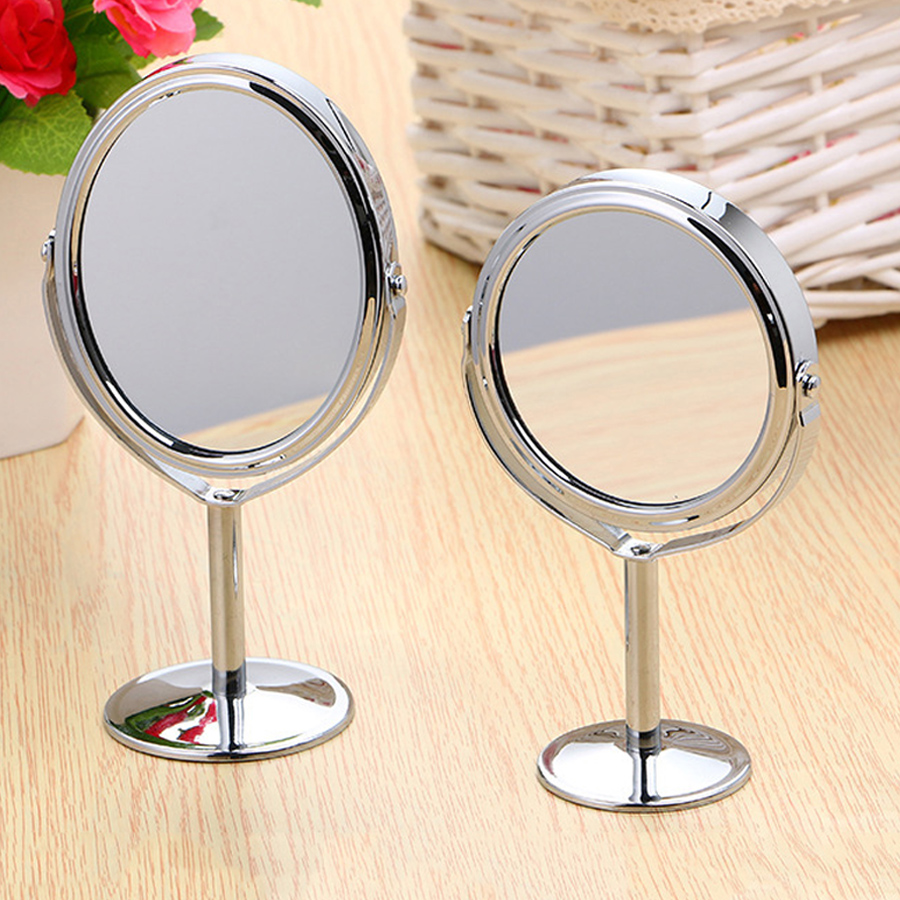 Fashion Durable Double-Sided Clear Makeup Mirror Normal Stand Magnifier Round Shape Metal HD Cosmetic For Gifts