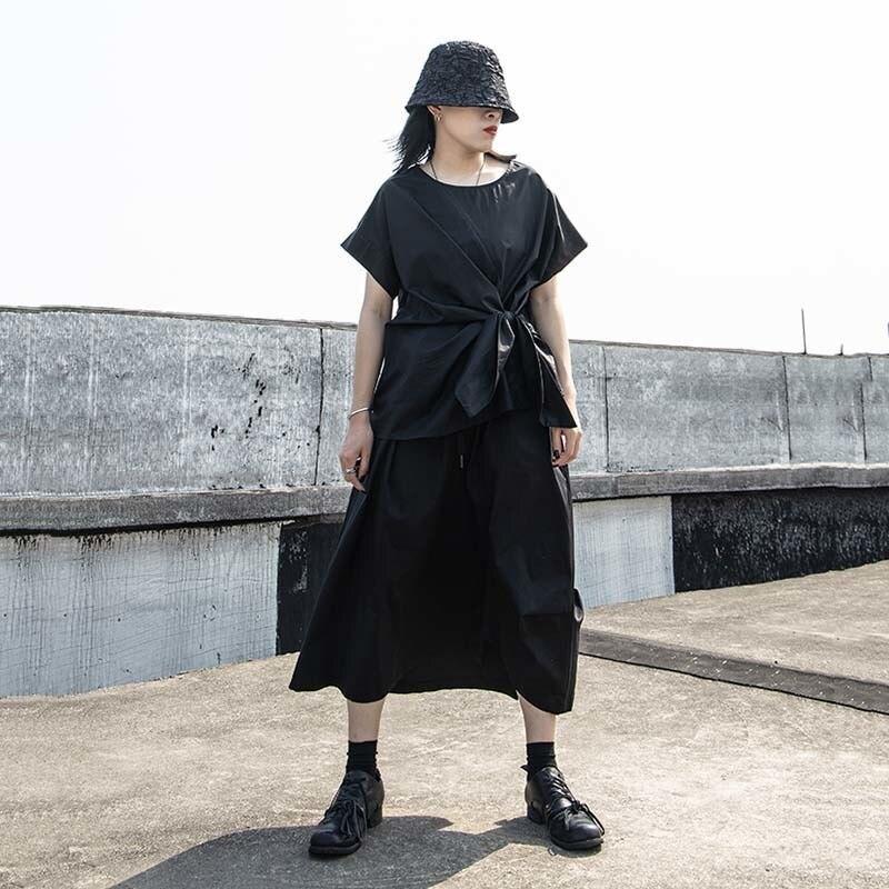 [EAM] Women Black Irregular Knot Split Big Size T-shirt New Round Neck Short Sleeve  Fashion Tide  Spring Summer 2020 1W254 5