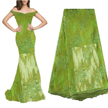 Lovely Green African Lace Fabric 2020 High Quality African Fabric for home sewing Nigerian Women Dress Sewing Material